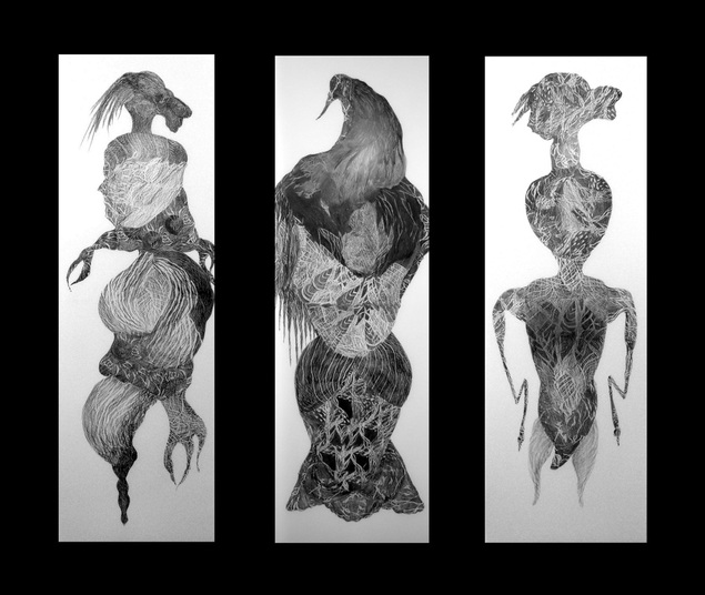 Three varnished graphite pieces on translucent paper